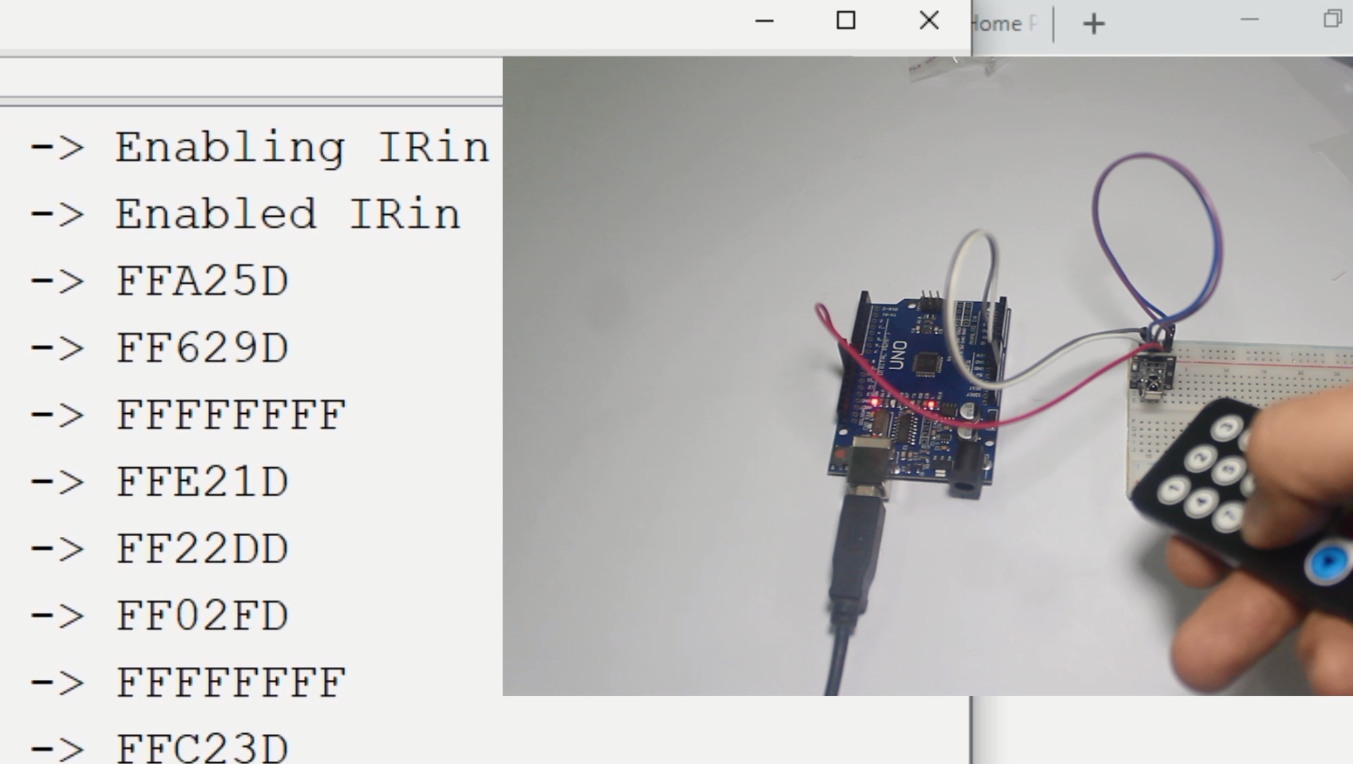 the code from infrared remote button